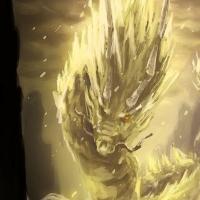 illustration digital painting dragon warrior fighting